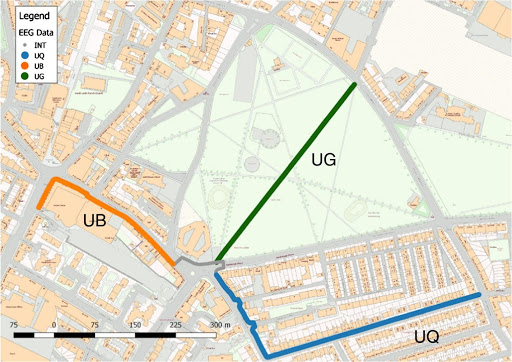 Map of Edinburgh showing routes from an experiment using Emotiv EPOC headsets that measure cortical brain activity and asked them to traverse through three different urban settings