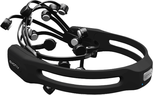 Photograph of an Emotiv headset used to track emotional states.